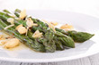 plate of asparagus with almonds