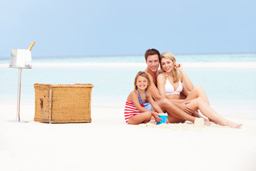 Family On Beach With Luxury Champagne Picnic