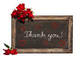 Kreidetafel, rote Rosen, Thank you