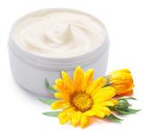 Jar of cream and calendula flower. - Fine Art prints