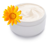 Jar of cream and calendula flower.