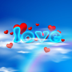 love. illustration  with red hearts and blue letters on the sky