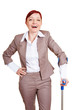 Lachende Businessfrau mit Krücke