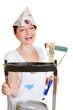 Malerin mit Leiter und Pinseln