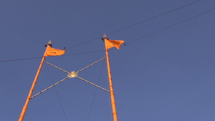 sikh flags with swords symbols in Amritsar Golden temple, India