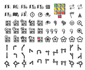 Set of navigational icons. Vector illustration