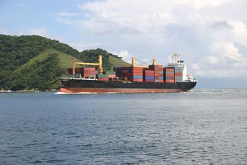 Cargo ship arriving