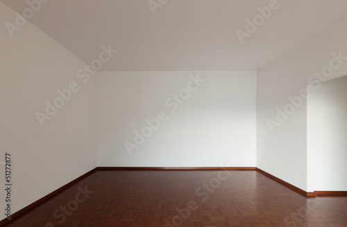 White apartment Interior, parquet floor, unfurnished