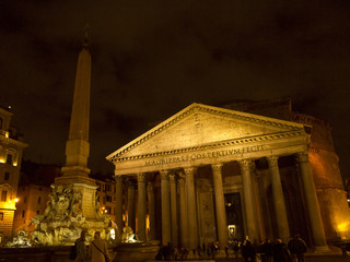 The Pantheon at night in Rome Italy
