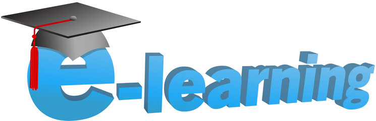 e-learning graduation cap word 3D