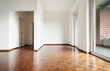 interior house empty, white walls, parquet floor