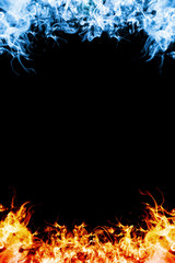 Red and blue fire.