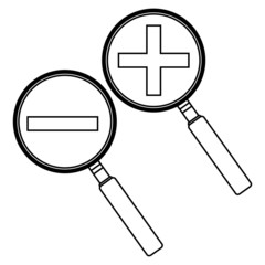 magnifying glass with the plus and minus. vector