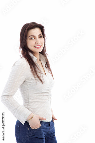 Smiling casual woman in jeans