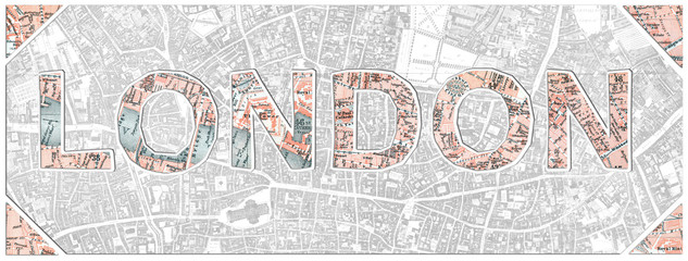 London word cut from an old 1908 scanned map