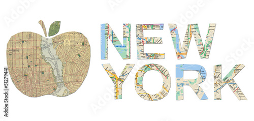 New York words and big apple cut from an old New York map