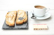 Toast and coffee with stamps