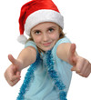 child wearing a Santa hat with thumbs up
