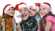 group of happy children celebrating Christmas