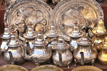 Moroccan Mint Tea Pots with silver tray