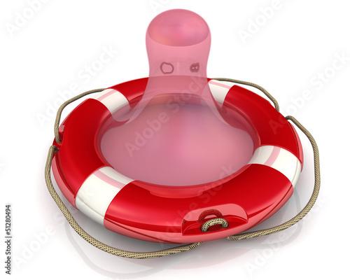 Презерватив стилизованный под спасательный круг