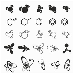 Molecules on the white background