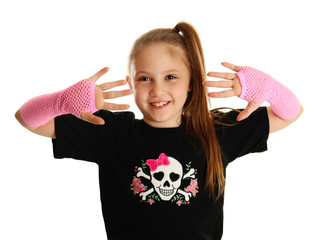 Portrait of a young girl with punk gloves