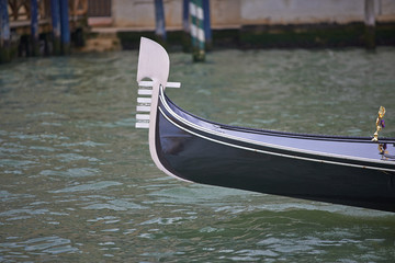 Nose of gondola in Venice canal