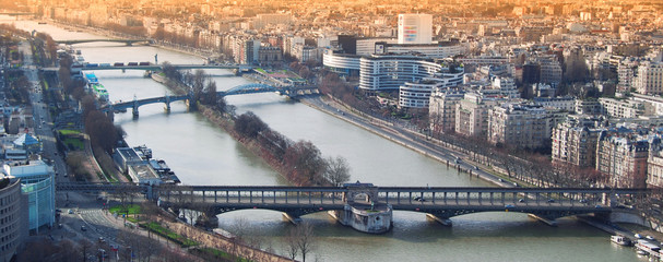 View from the Eiffel tower bridge Bir-Hakein and islet on the ri