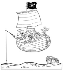 Funny pirate boat with pirates and treasure.