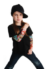 Portrait of a punk rock young girl with hat