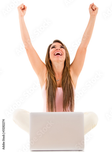 Successful woman with a laptop
