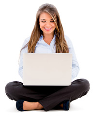 Business woman working online