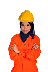 Muslim woman with personal protective equipment on white