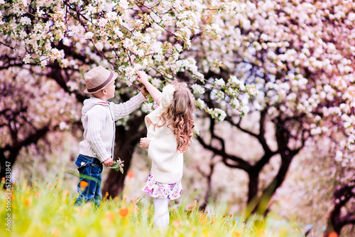 Adorable happy kids outdoors on summer day in beautiful blooming