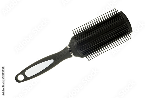 Black Hairbrush Isolated on White