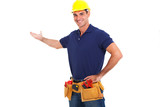 smiling handyman on white background