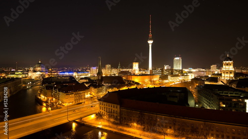 Berlin Skyline City Day to Night Timelapse with Traffic
