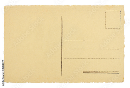 Blank Rear of Postcard Isolated on White