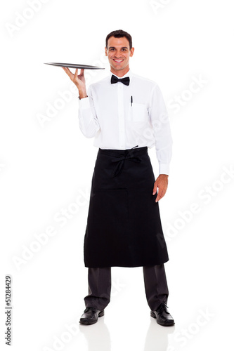 happy waiter isolated on white