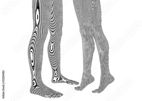 Man And Woman Tattoo Legs On A White 04