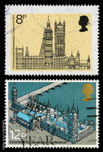 Britain Houses of Parliament Postage Stamps