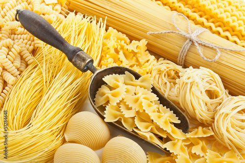 retro still life with assortment of uncooked pasta - 51284648