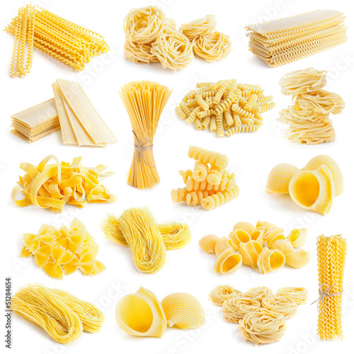 pasta collection isolated on white
