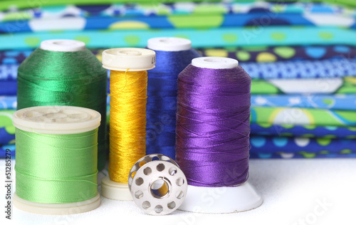 Quilting Thread With Fabric and Copy Space