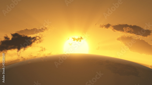 Rendered image of a sunset