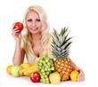 girl with fruits isolated on white. healthy eating