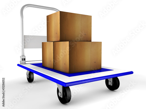 3d trolley with boxes