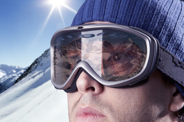 skier looking at the mountains