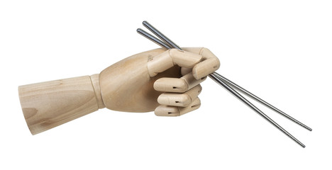 Wooden Hand Holding Metal Chopsticks